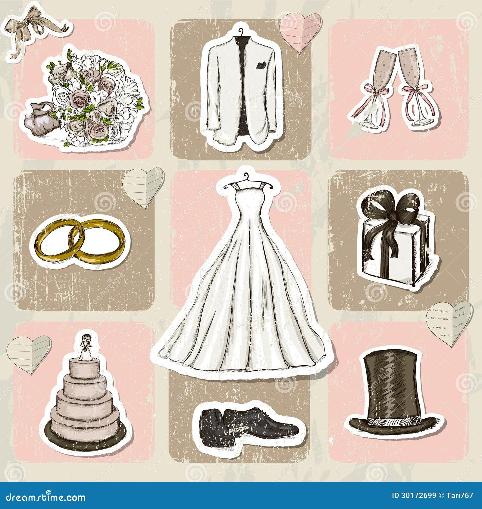 Retro Beach Illustration Royalty Free Stock Photo: Vintage Wedding Poster. Royalty Free Stock Images