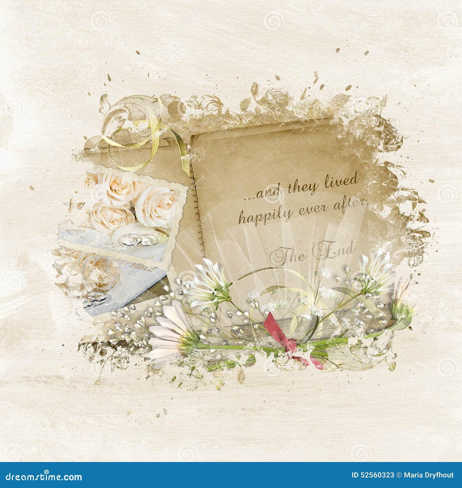 vintage wedding scrapbook stock illustration  image of