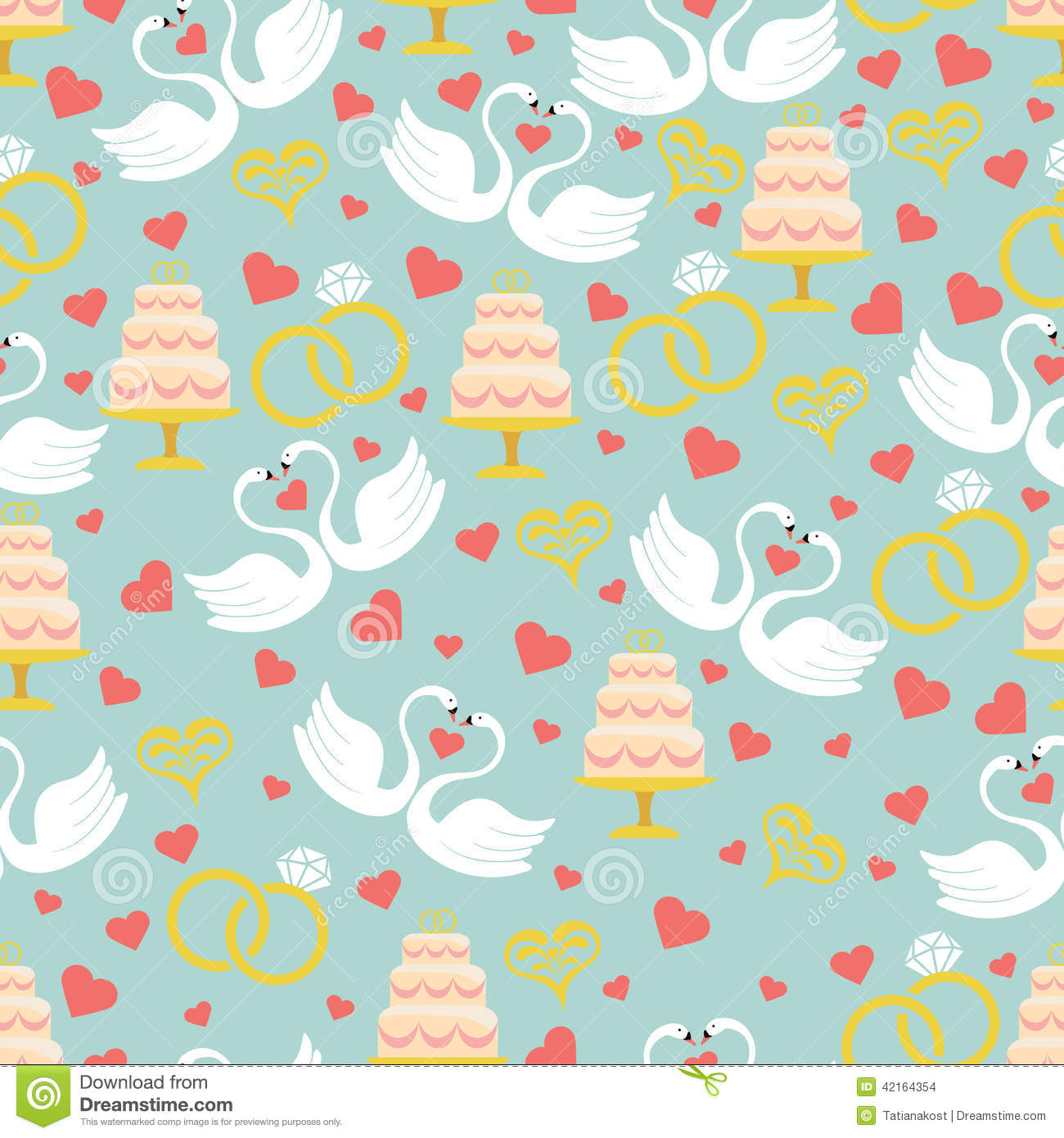 Vintage Wedding Seamless Pattern SetHearts Swanscakerings Stock