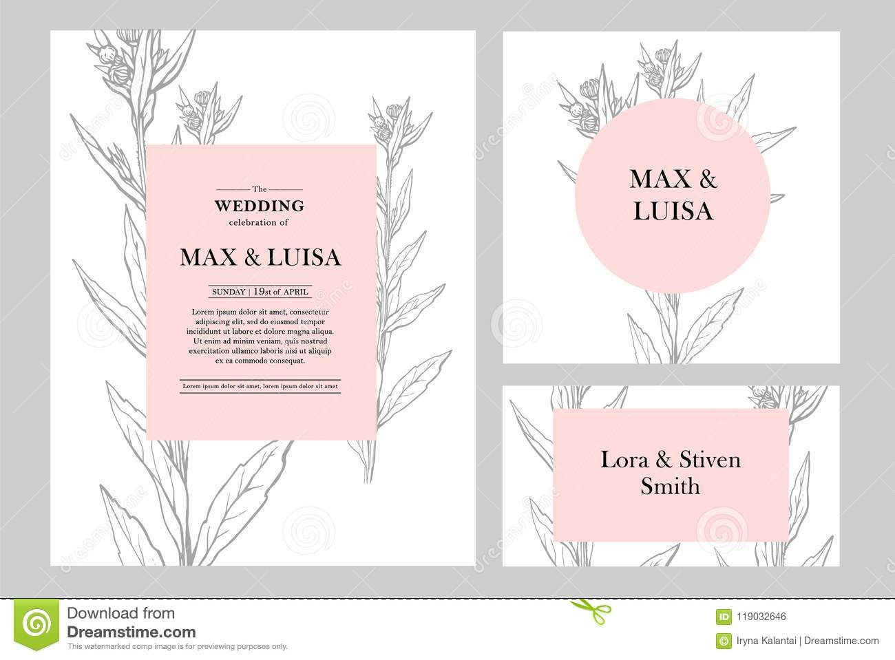 vintage wedding set with botanical wedding invitation save the