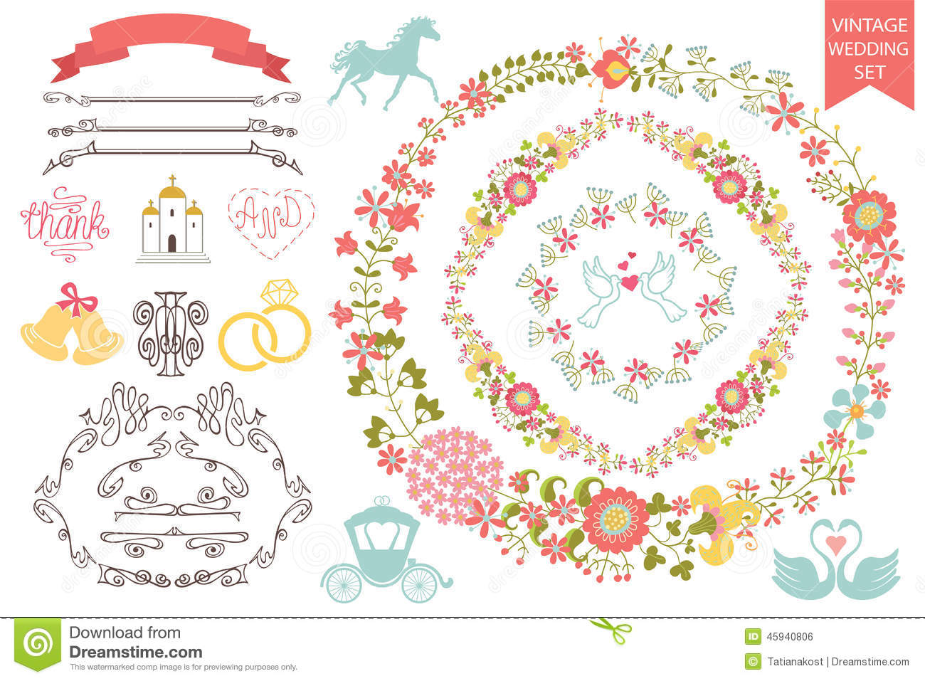 Vintage Wedding Set.Floral Wreath,icons, Swirling Stock Vector - Image ...
