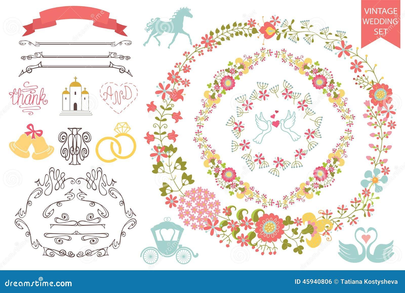 vintage wedding set floral wreath icons swirling stock vector image 45940806. Black Bedroom Furniture Sets. Home Design Ideas