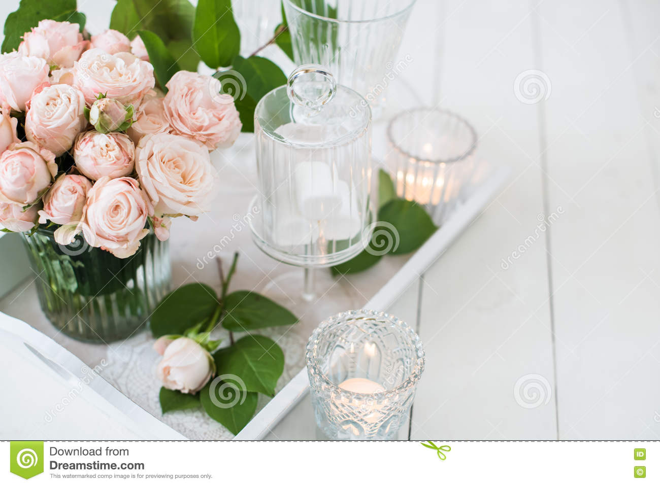 Vintage Wedding Table Decorations With Roses, Candles Cutlery Stock ...
