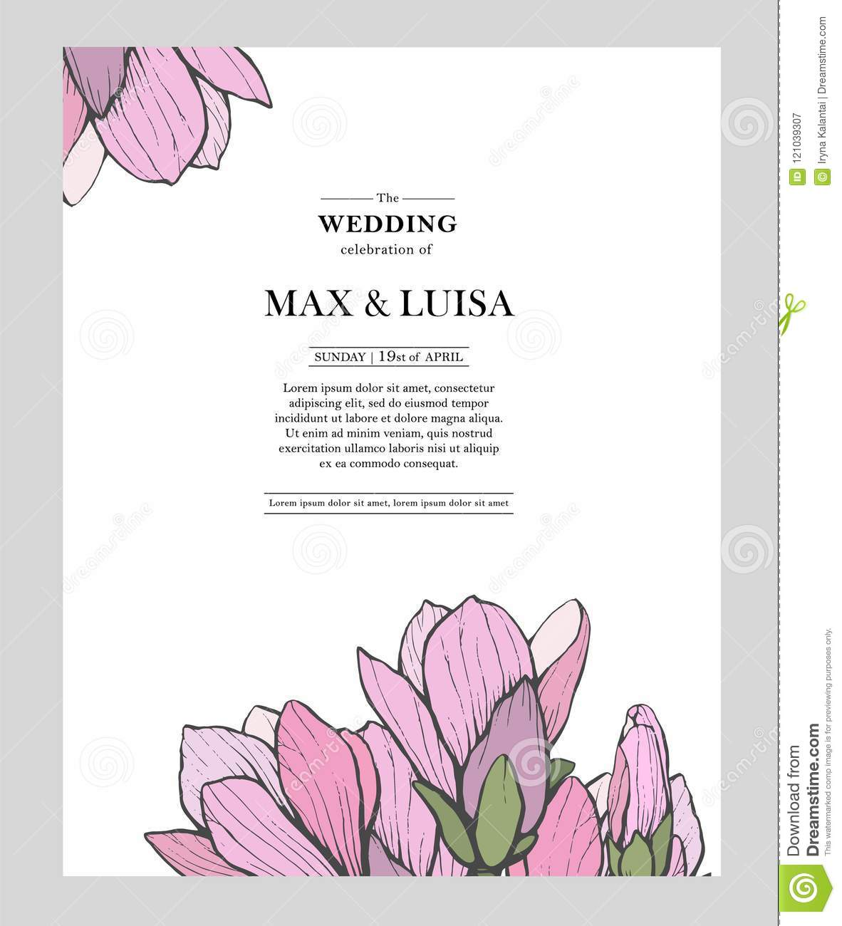 vintage wedding template with magnolia wedding invitation save the