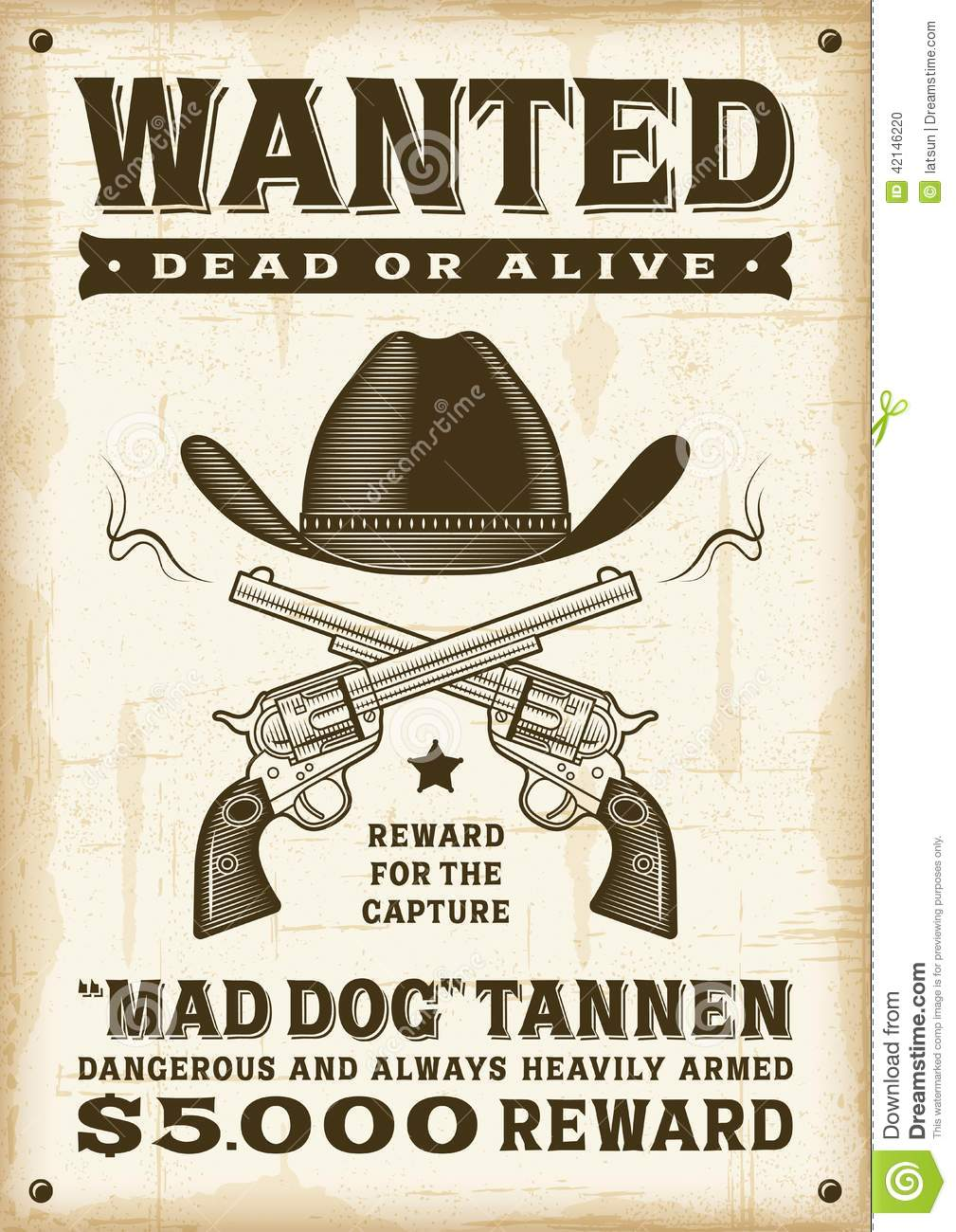 Vintage Western Wanted Poster Stock Vector Image 42146220 Vintage Western Wanted  Poster Woodcut Style Editable Eps