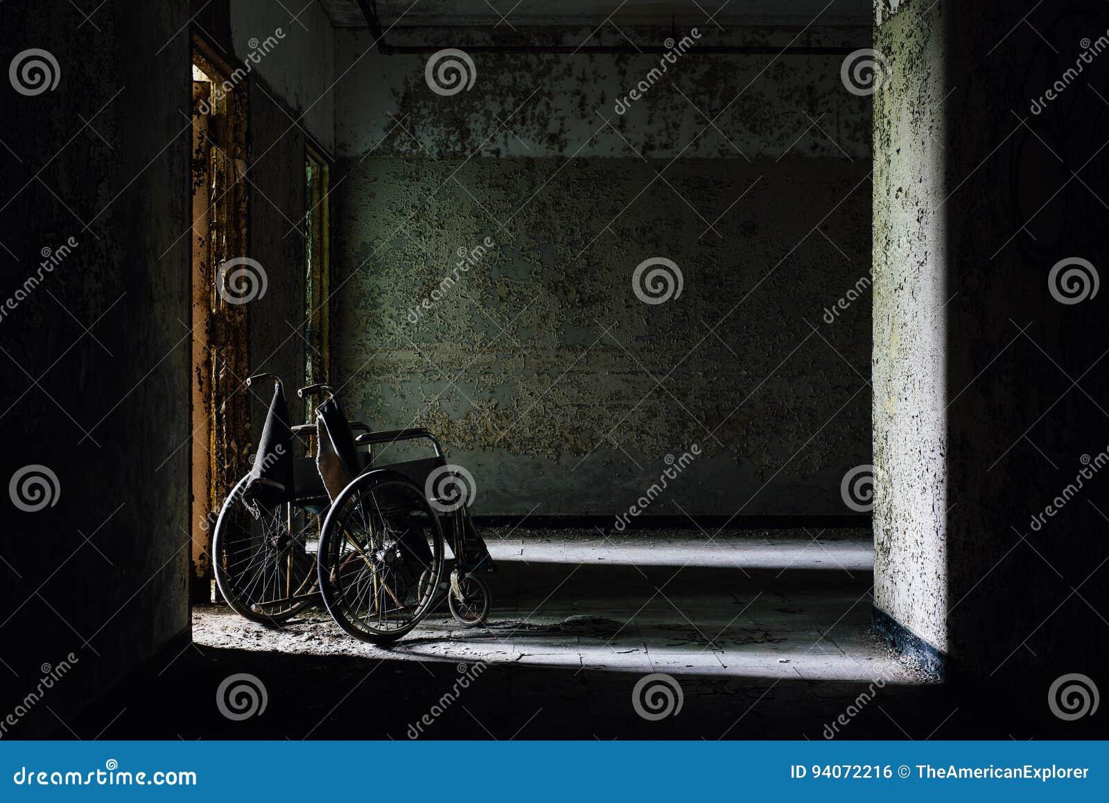 Vintage Wheelchair in Hallway - Abandoned Hospital / Sanitarium - New York