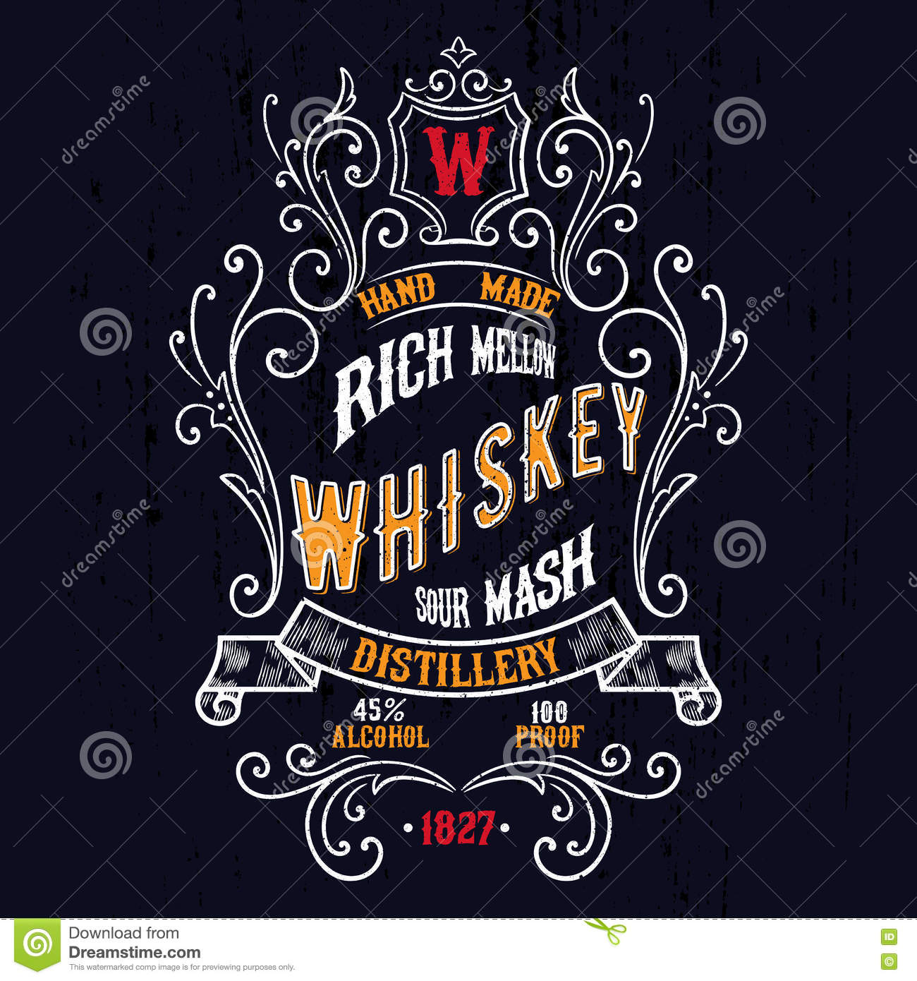 Design t shirt label - Vintage Whiskey Label T Shirt Design Royalty Free Stock Photo