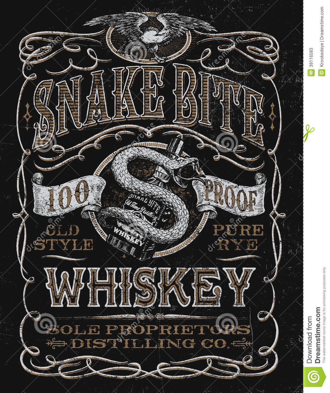 vintage whiskey label t-shirt graphic stock vector