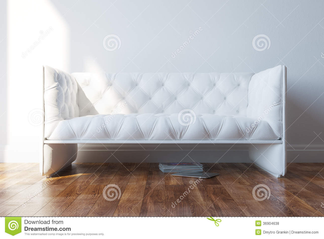 Vintage white design couch in minimalist interior royalty for Vintage minimalist interior design