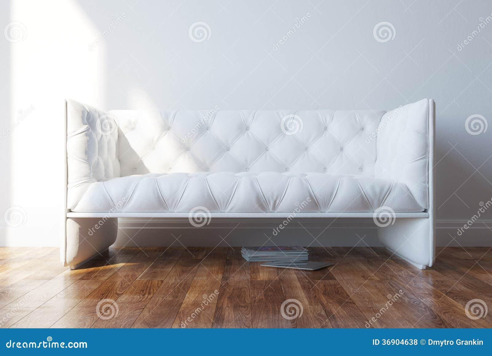 Vintage white design couch in minimalist interior royalty for Vintage minimalist interior design