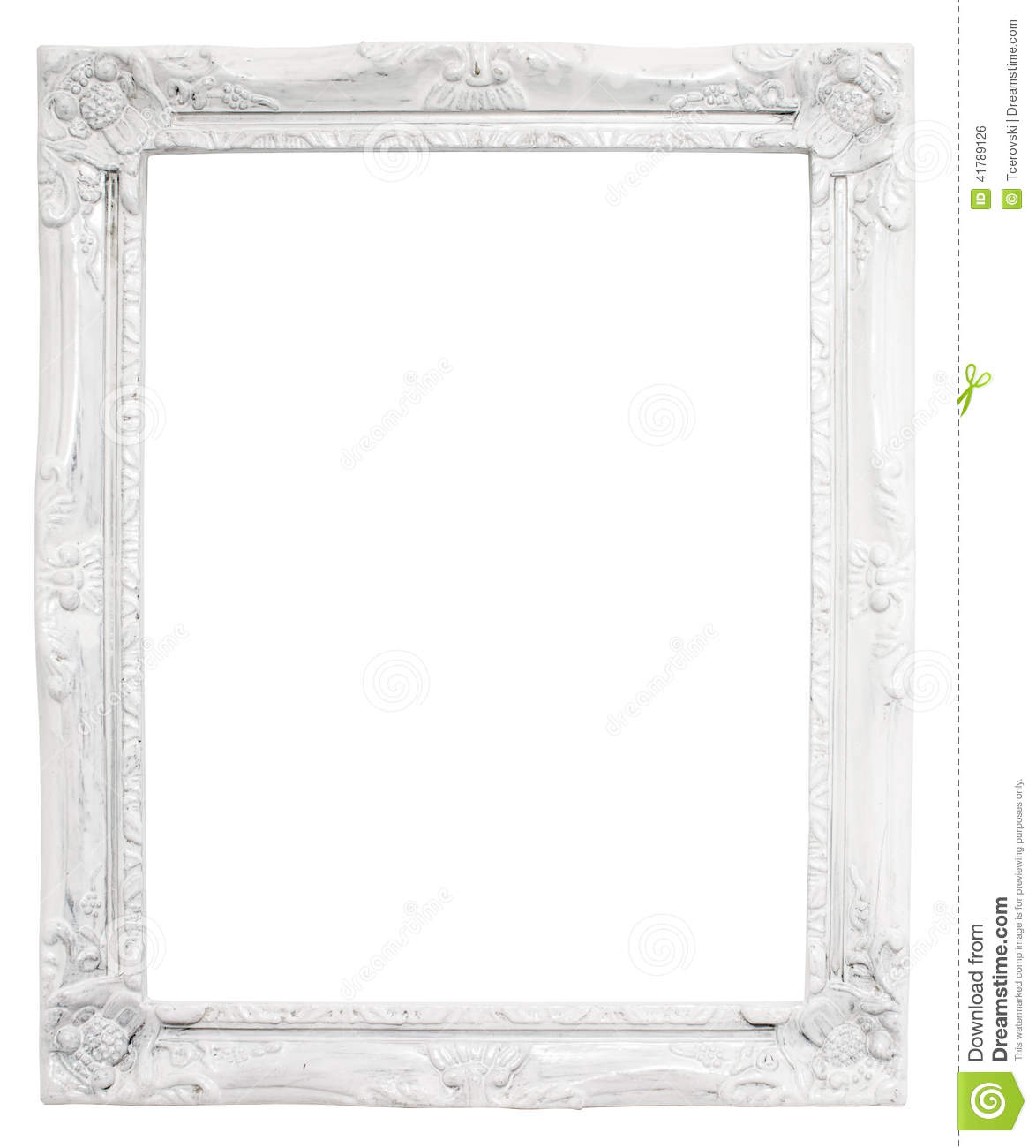 Vintage White Frame With Blank Space, With Clipping Path ...