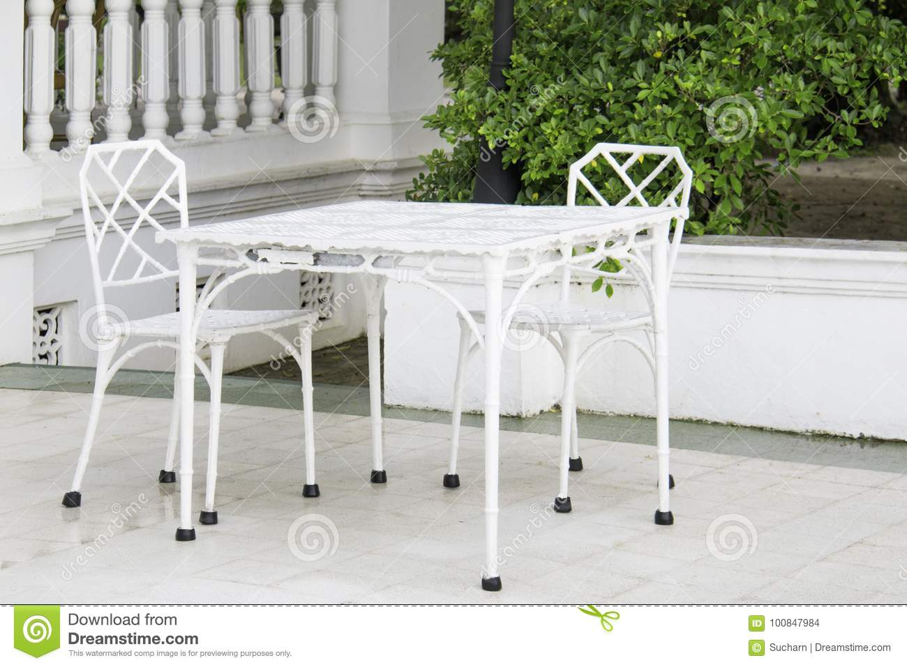 Vintage White Furniture Set In Garden Outdoor. Stock Photo - Image