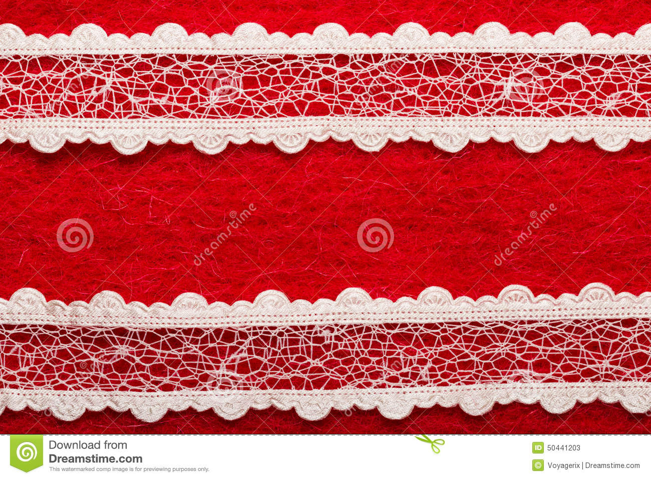 Vintage white lace over red background