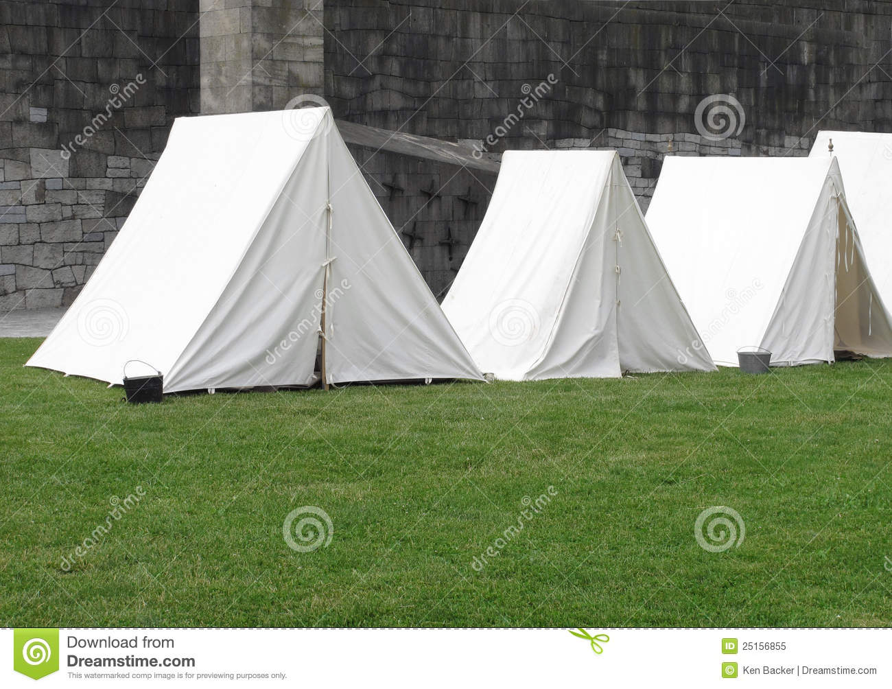 Vintage White Military Army Tents Stock Image - Image of