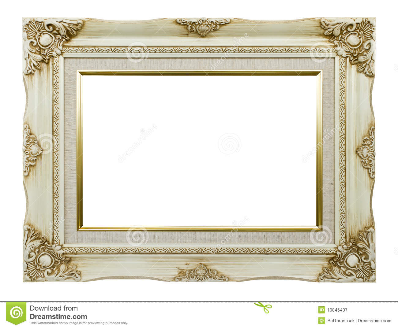 Vintage white picture frame isolated on white background.