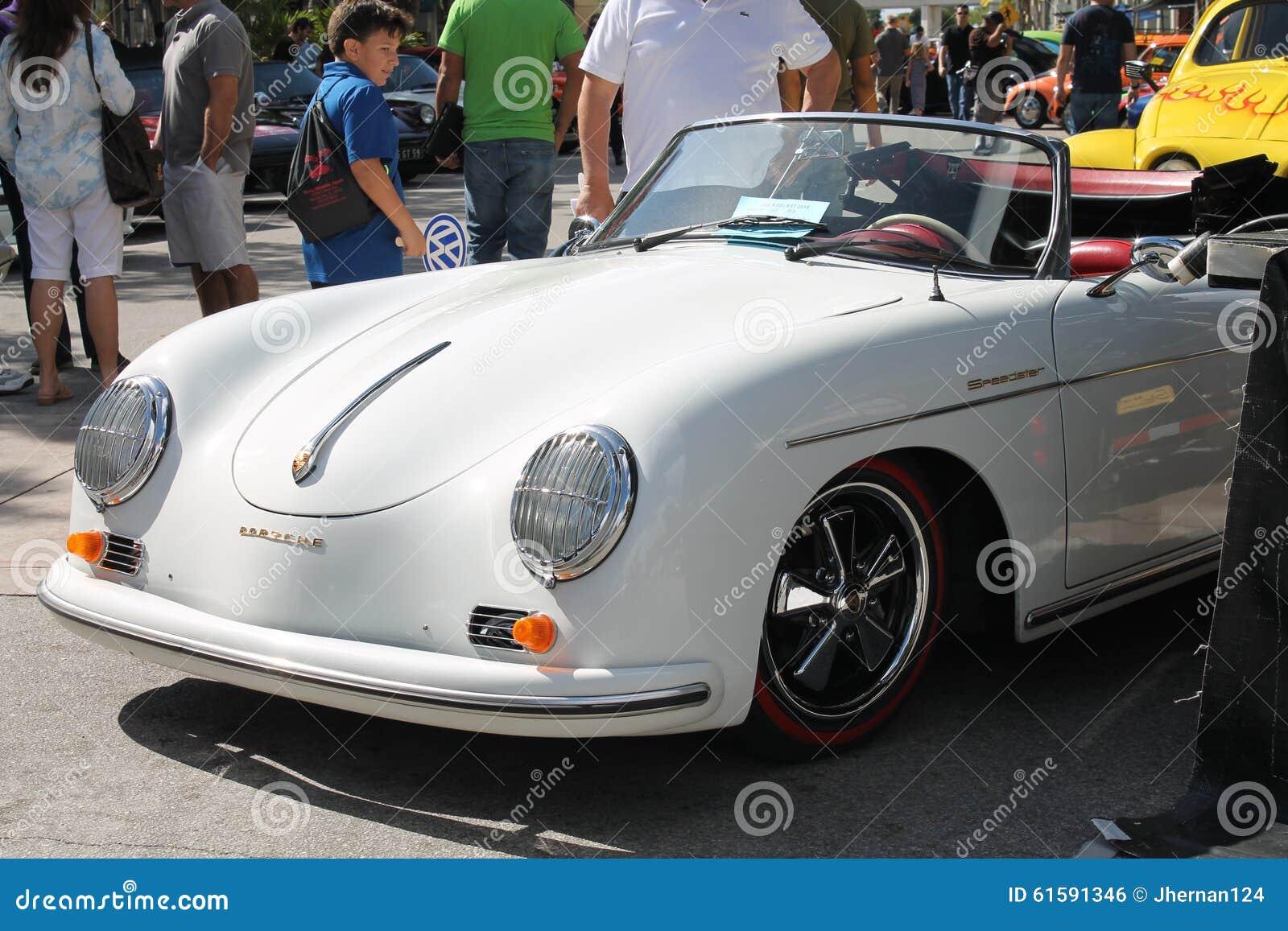 Vintage White Porsche Convertible Stock Photo 61591346