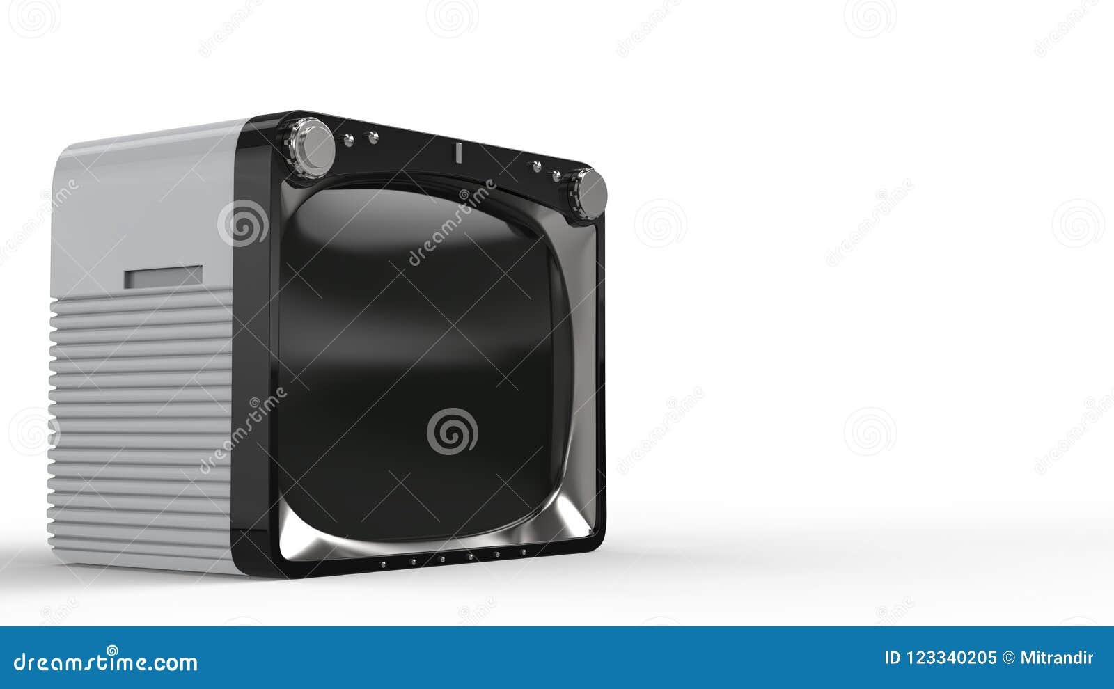 Vintage white TV set with black front
