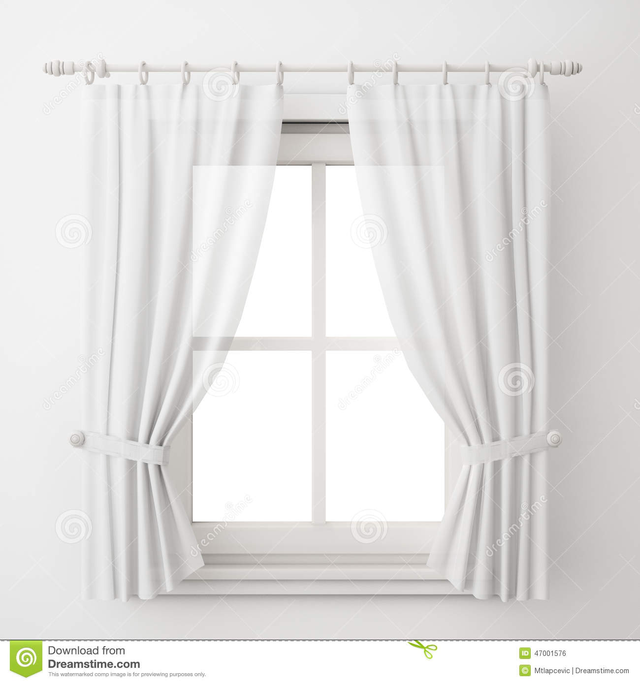 vintage white window frame with curtain isolated on white background stock illustration. Black Bedroom Furniture Sets. Home Design Ideas