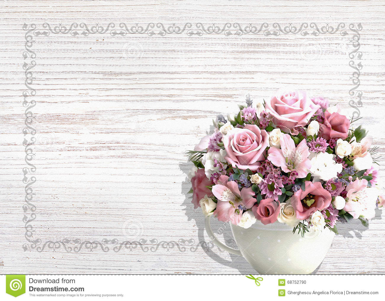 Vintage White Wood Background With Flowers In A Vintage Pot Shabby ...