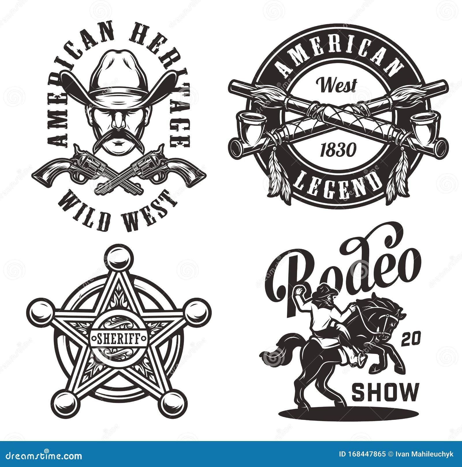 Vintage Wild West Monochrome Labels Stock Vector
