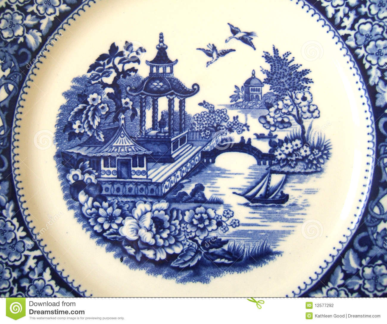 Vintage Willow Pattern Background Stock Photo Image Of