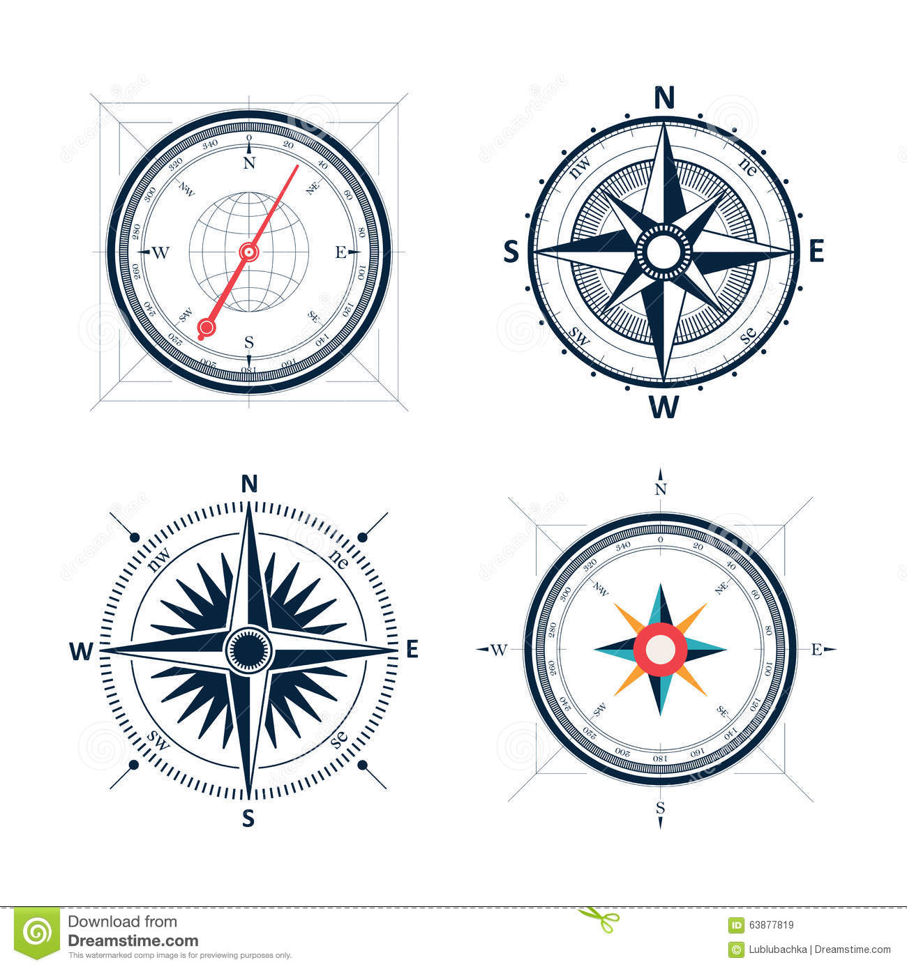 Vector White Wind Rose Icon Set Stock Photography ...