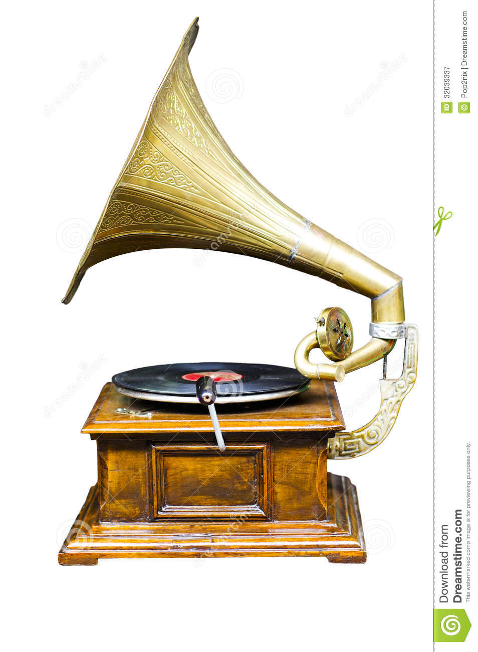 Vintage Wind-up Gramophone Record Player Royalty Free ...