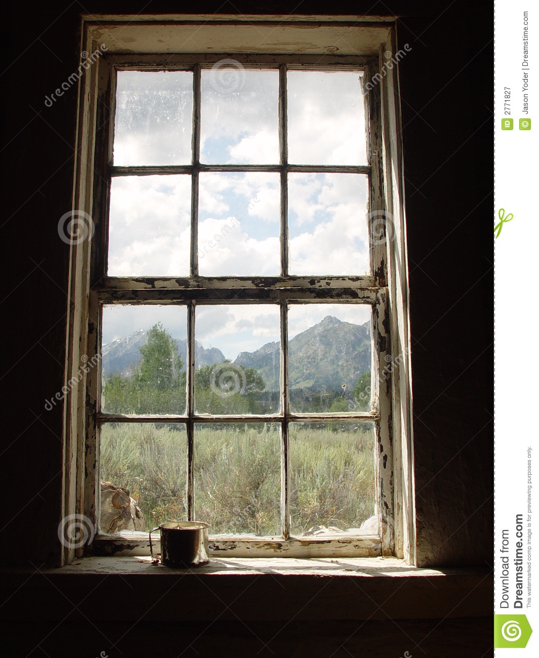 Vintage Window Stock Image Image Of Historic Shrubs
