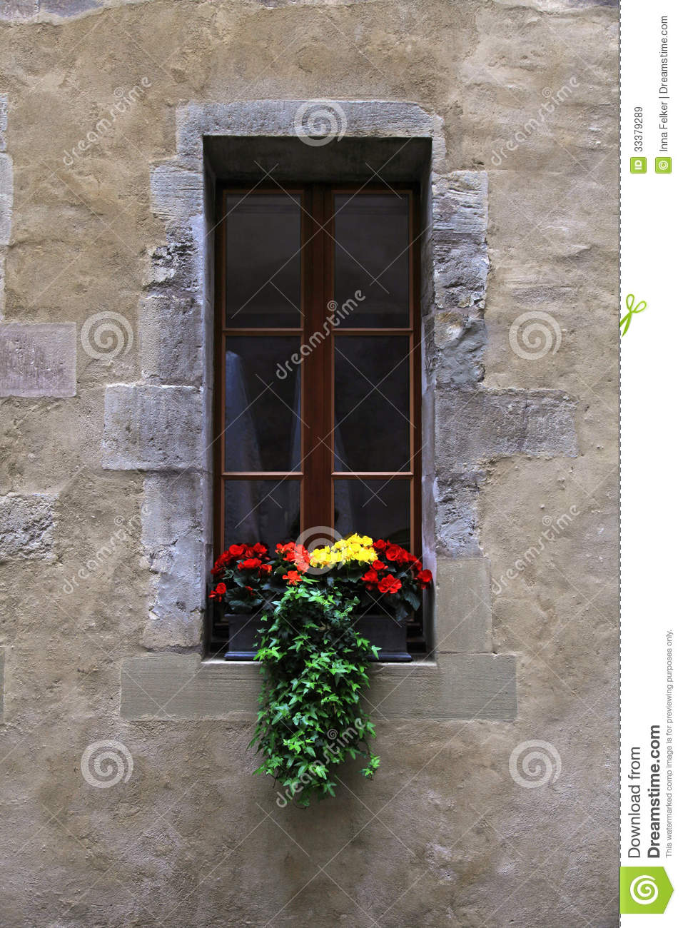 Vintage Window With Flowers And Window Box Royalty Free