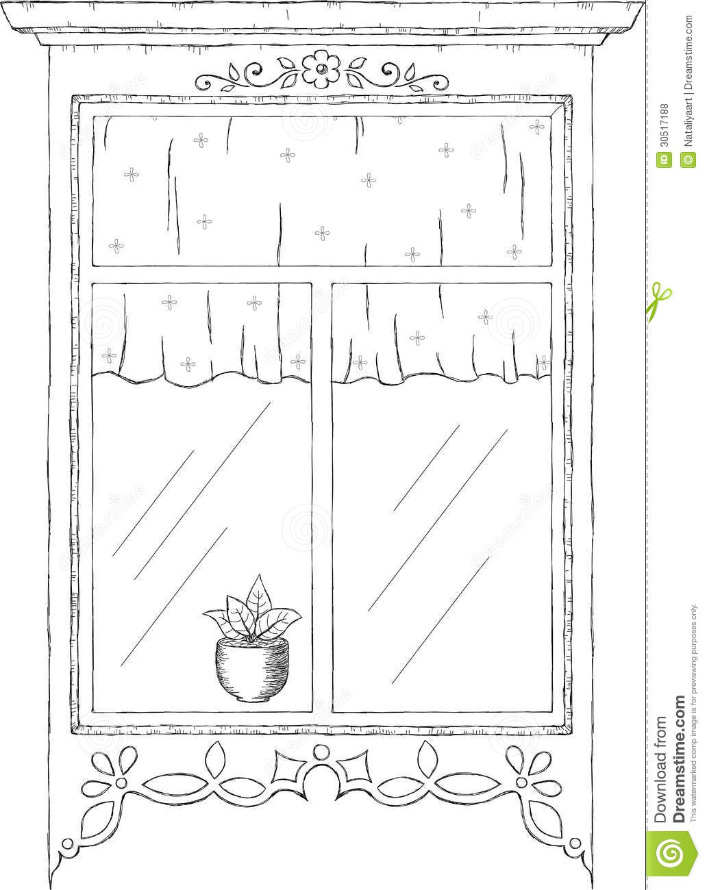vintage window drawing. drawn hand illustration vintage window drawing t
