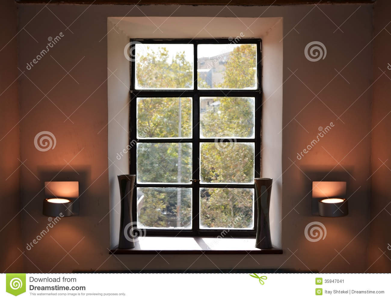 Vintage window interior design stock image image of for Window design interiors