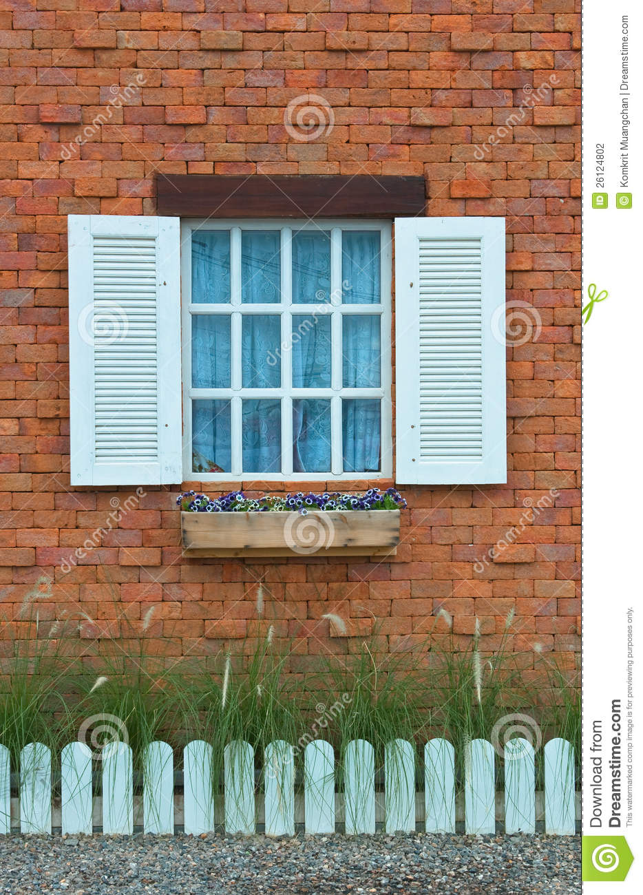 Vintage Window On Red Brick Wall Stock Photography Image