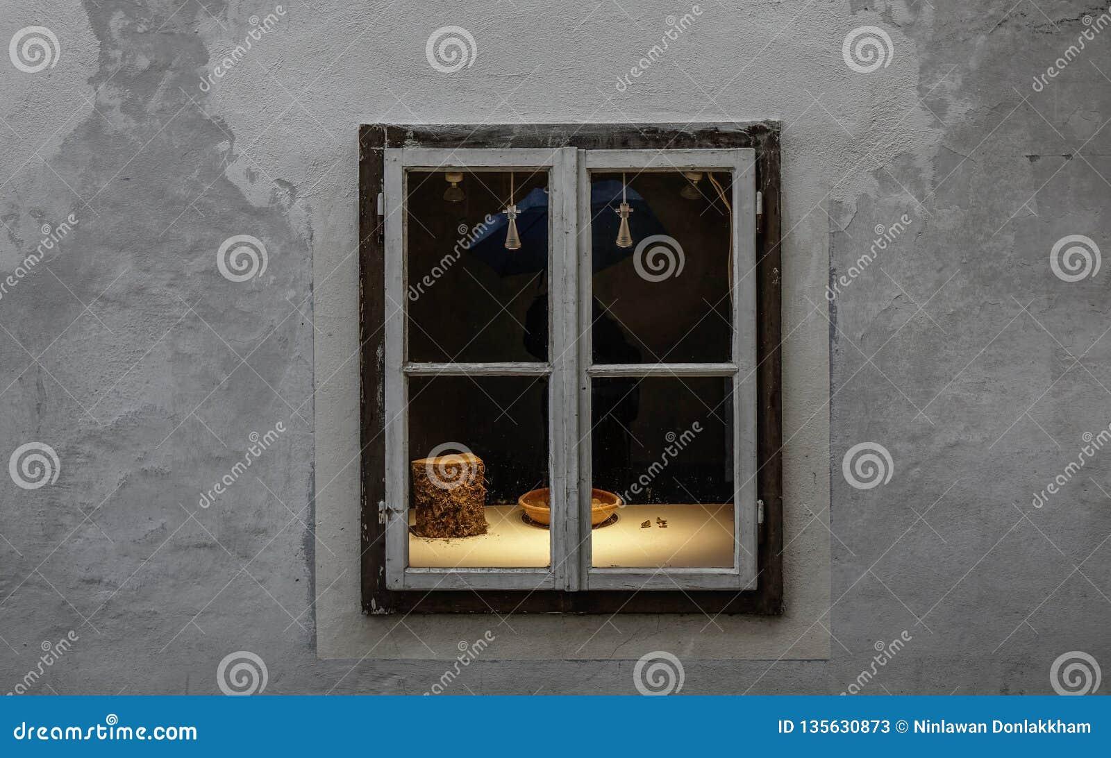 Vintage window of souvenir shop