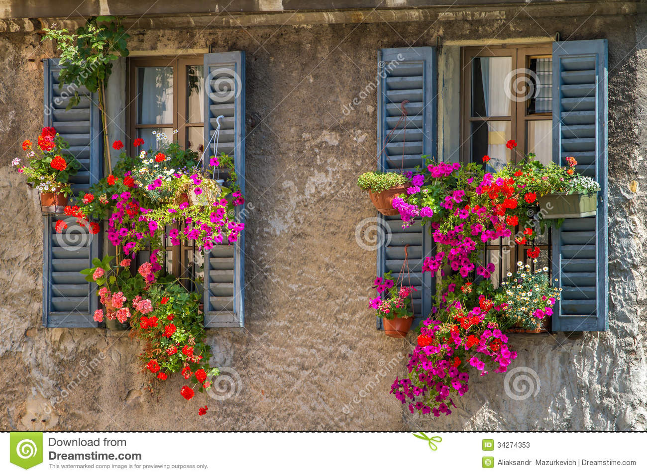Vintage Windows With Fresh Flowers Stock Photos Image
