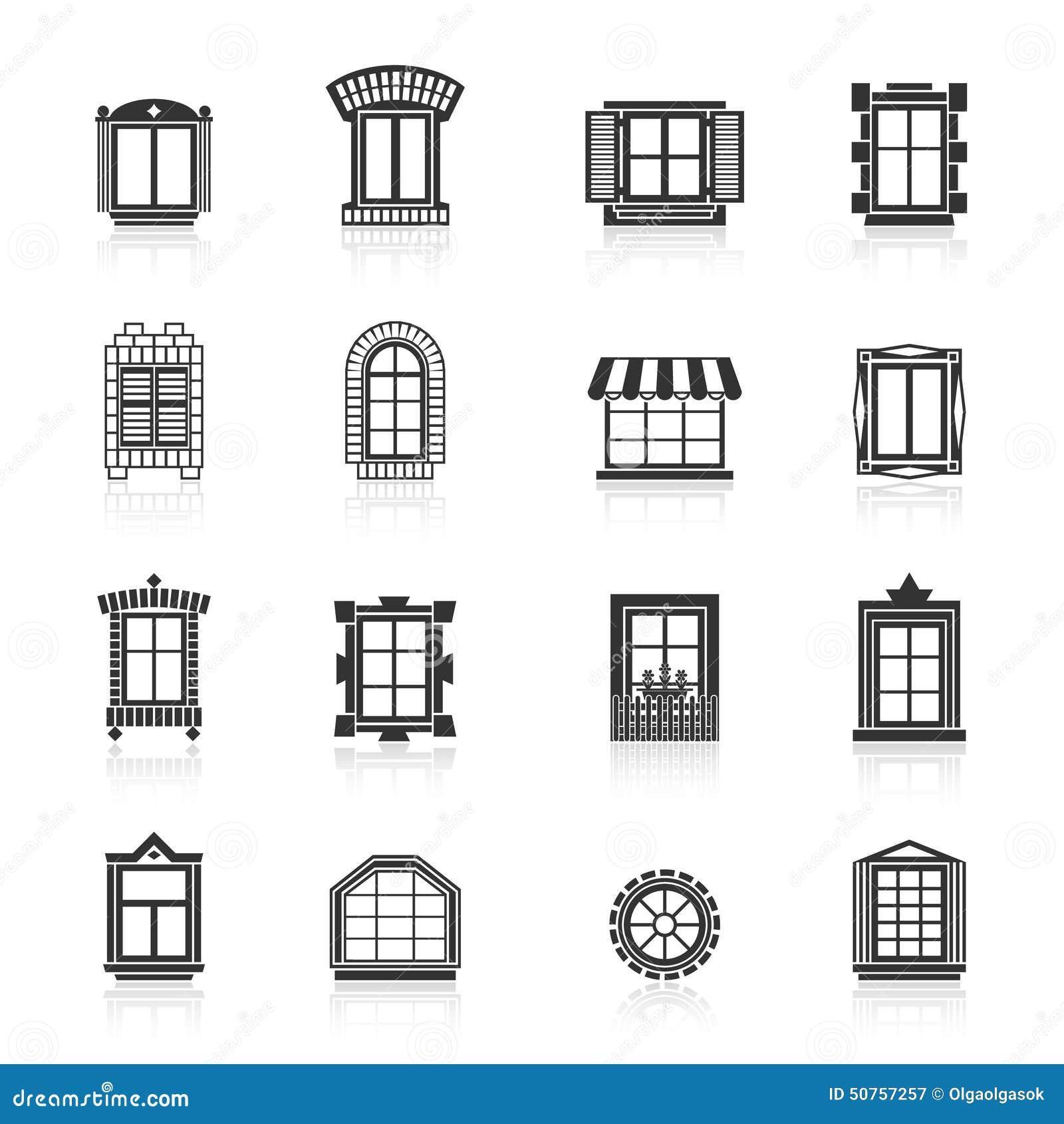 Vintage Windows Set Flat Exterior Icons Stock Vector
