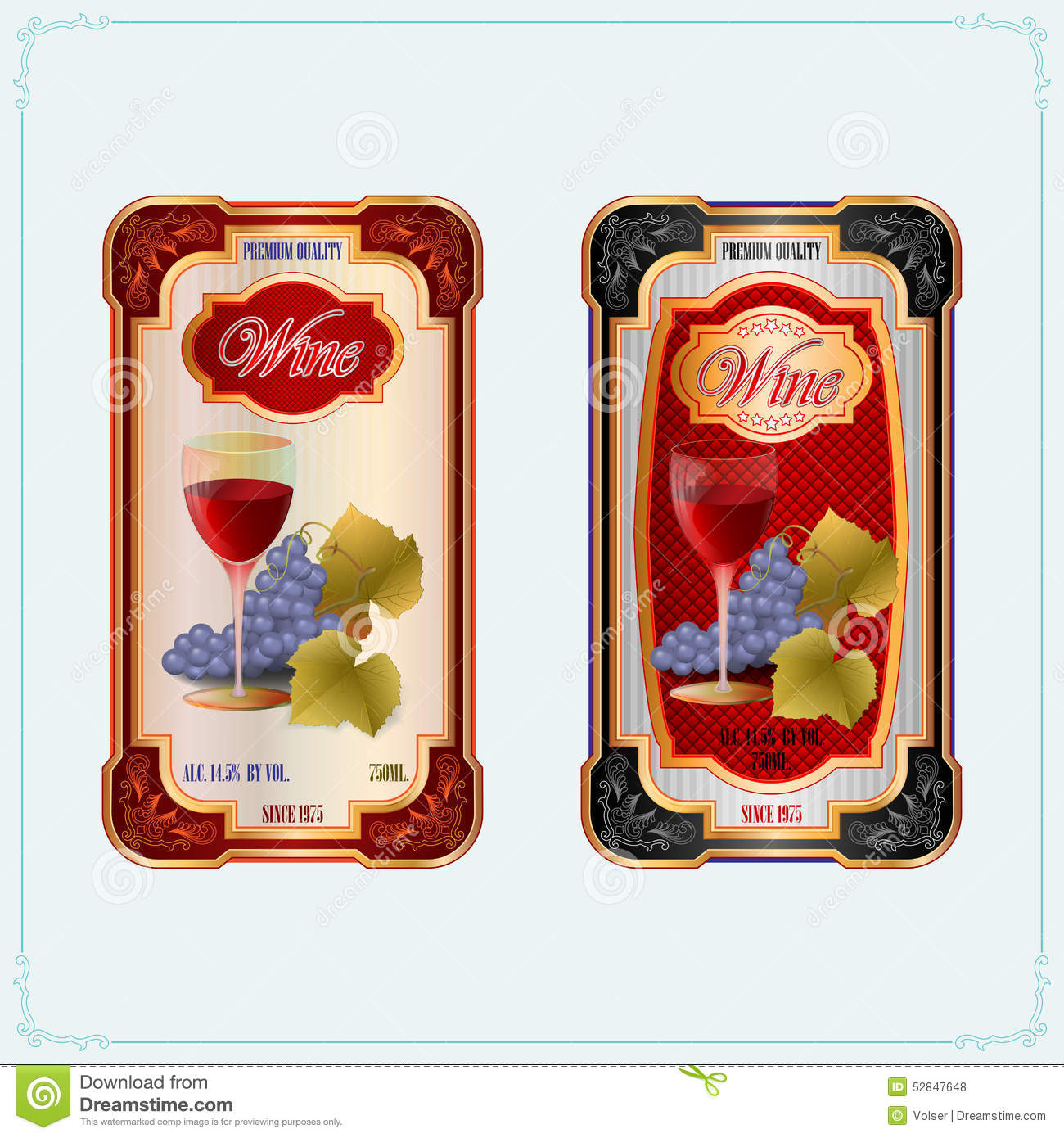 Vintage Wine Labels, Template Design. Royalty Free Vector
