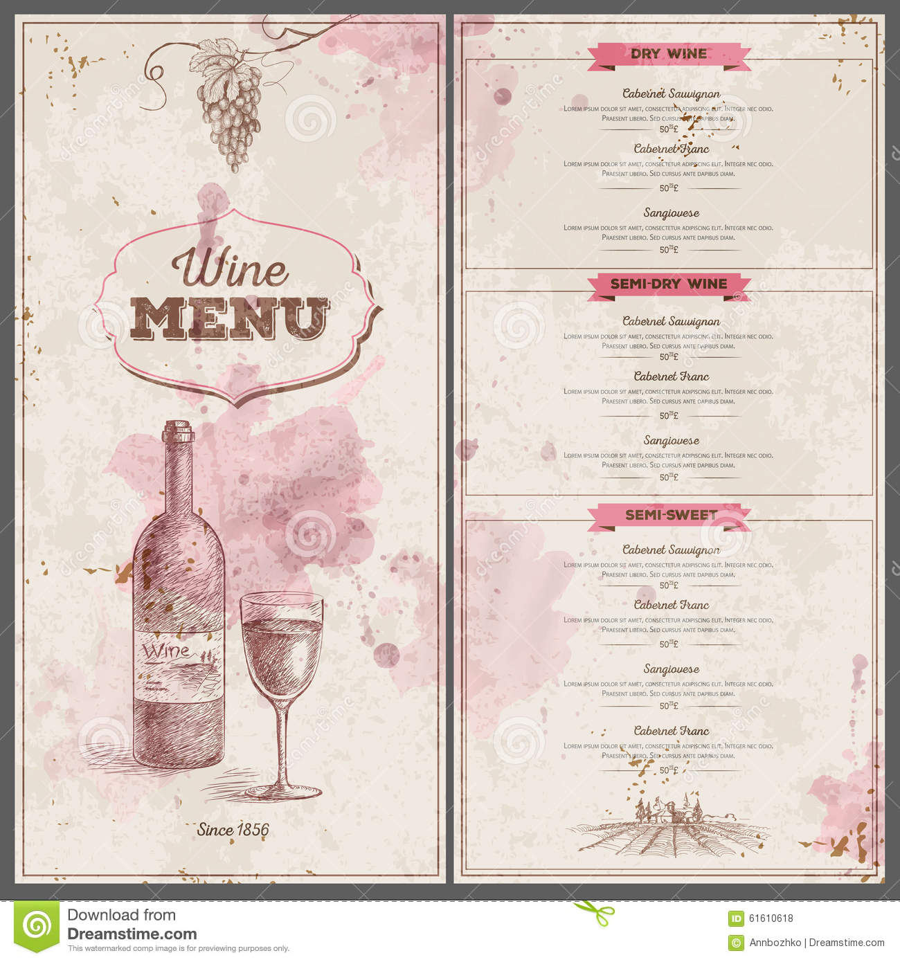 wine dinner menu template - vintage wine menu design document template stock vector