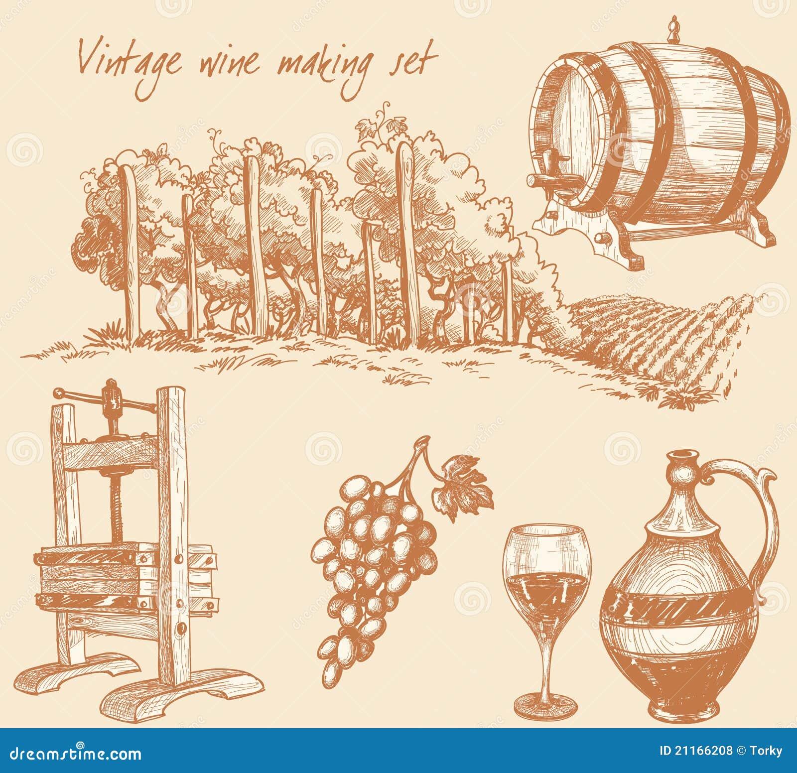 Vintage wine and wine making set