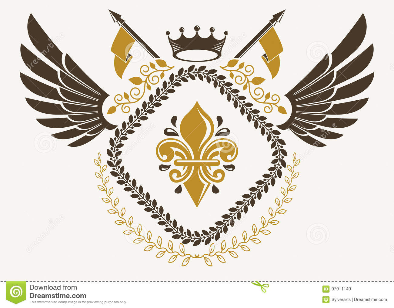 Vintage winged emblem created in vector heraldic design and comp vintage winged emblem created in vector heraldic design and composed using lily flower symbol and imperial crown izmirmasajfo