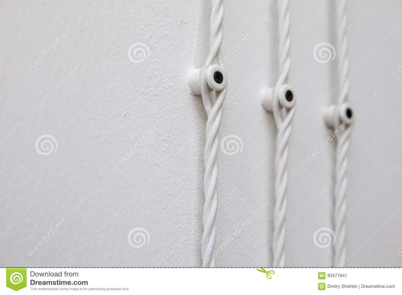 Vintage Wiring On White Wall, Electric Wire Stock Image - Image of ...