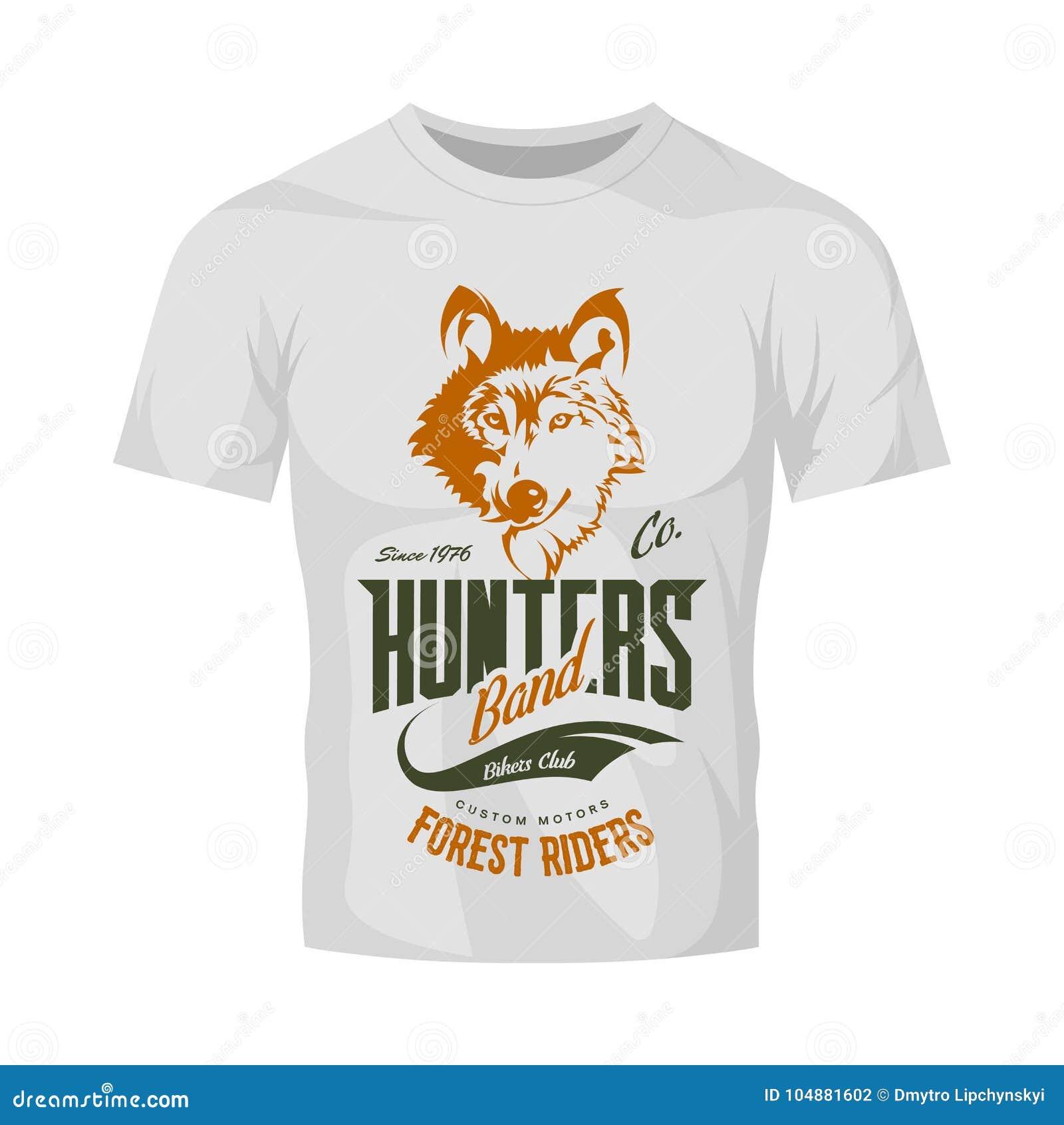 vintage wolf custom motors club vector logo on white t shirt mock up