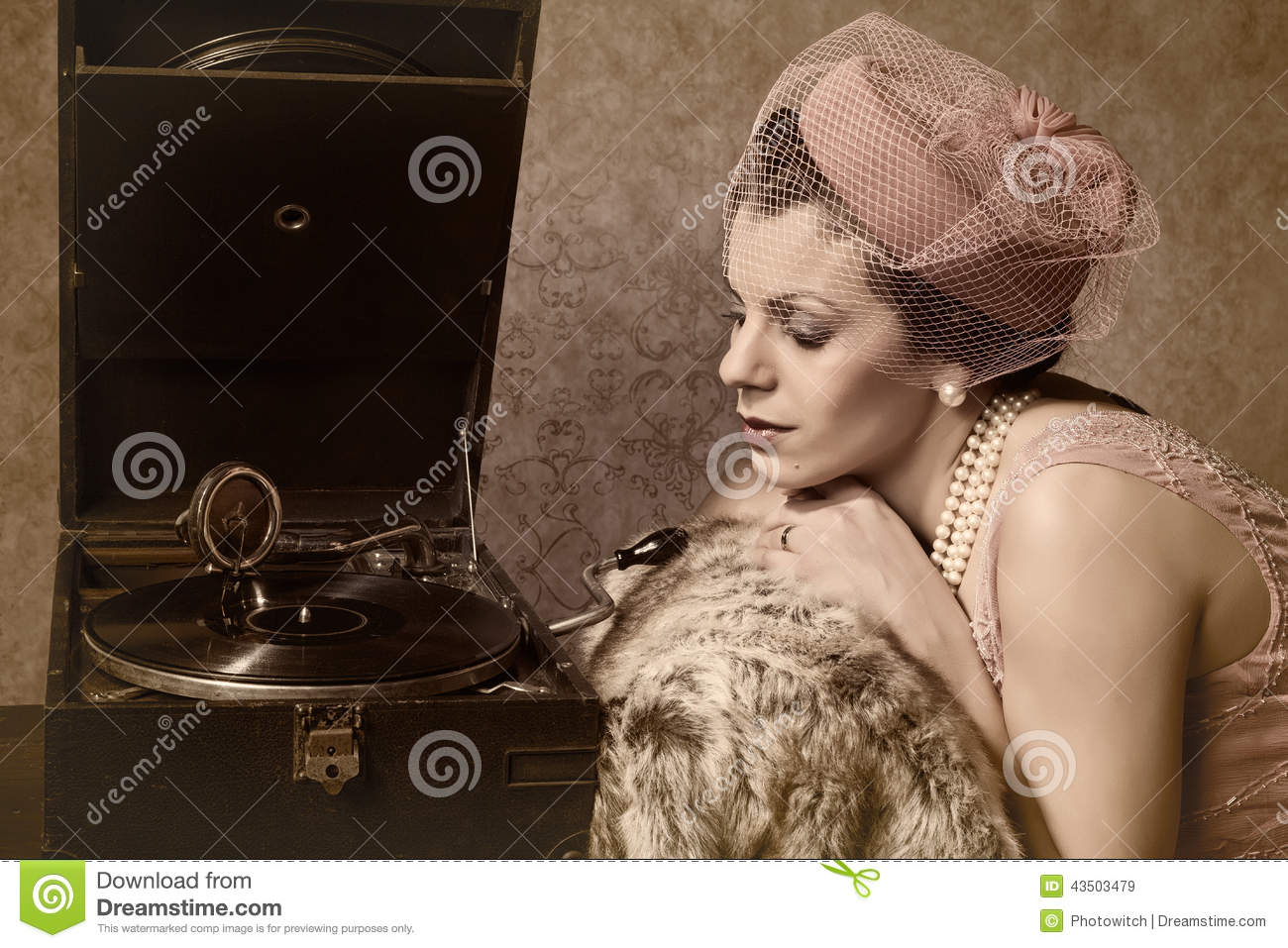 Vintage woman and old music