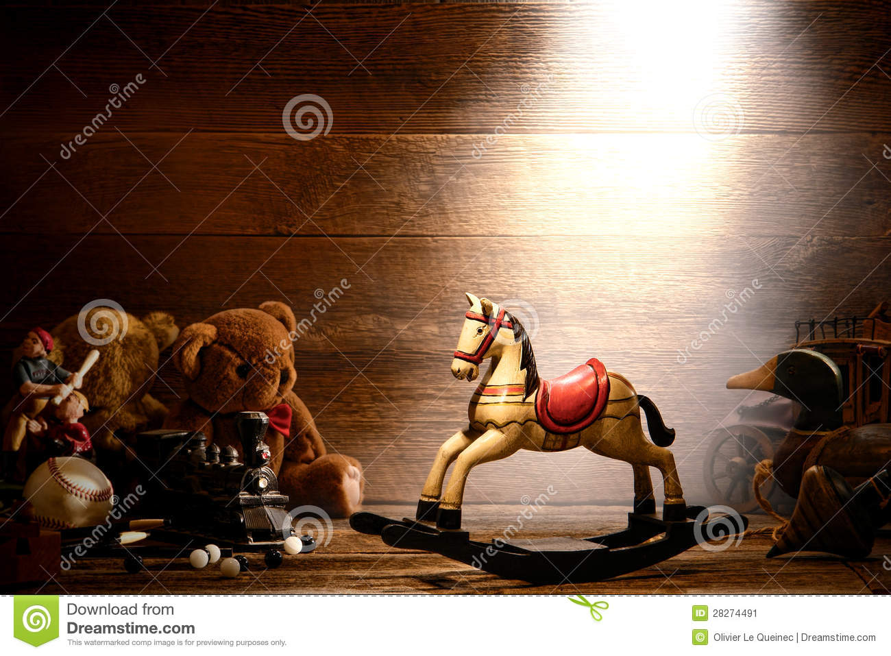 Vintage Wood Rocking Horse and Old Toys in Attic