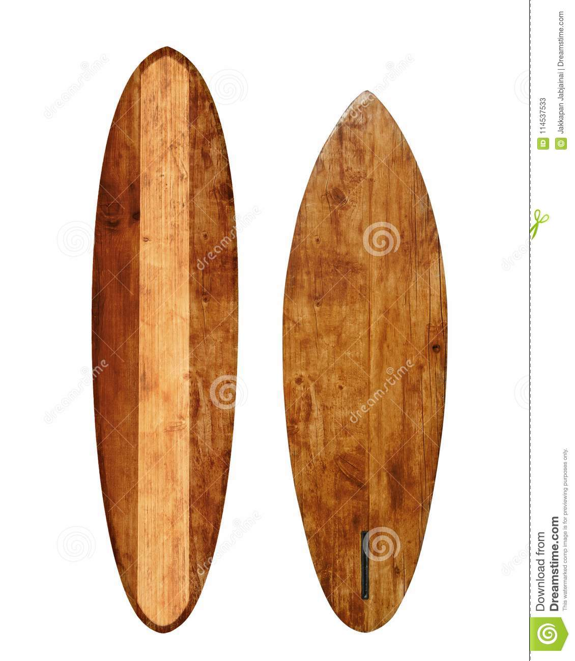Deco Planche De Surf vintage wood surfboard isolated on white stock image - image