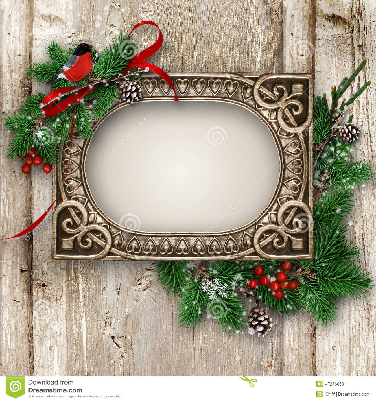 Vintage Wood Texture With Gorgeous Frame And Xmas