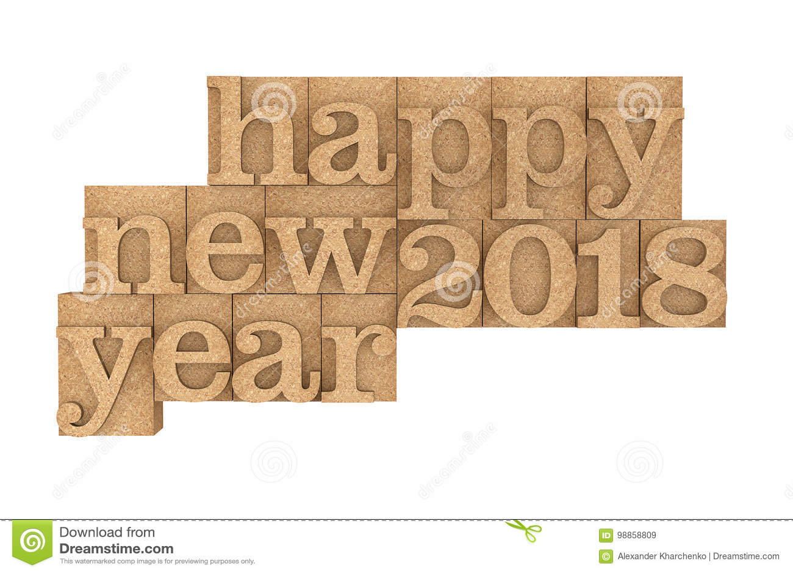 vintage wood type printing blocks with happy new 2018 year sloga