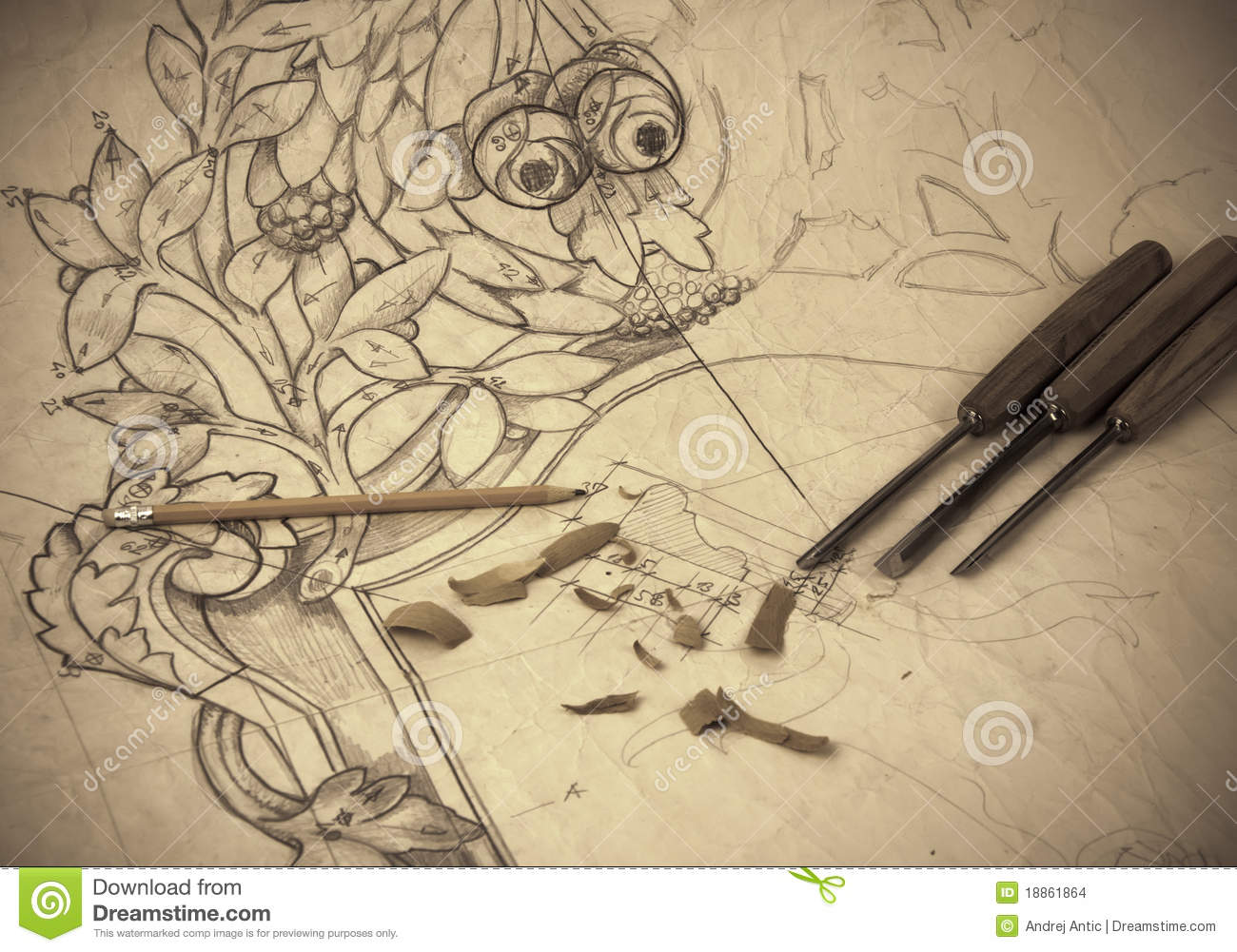 Vintage Woodcarving Drawing Stock Images Image 18861864