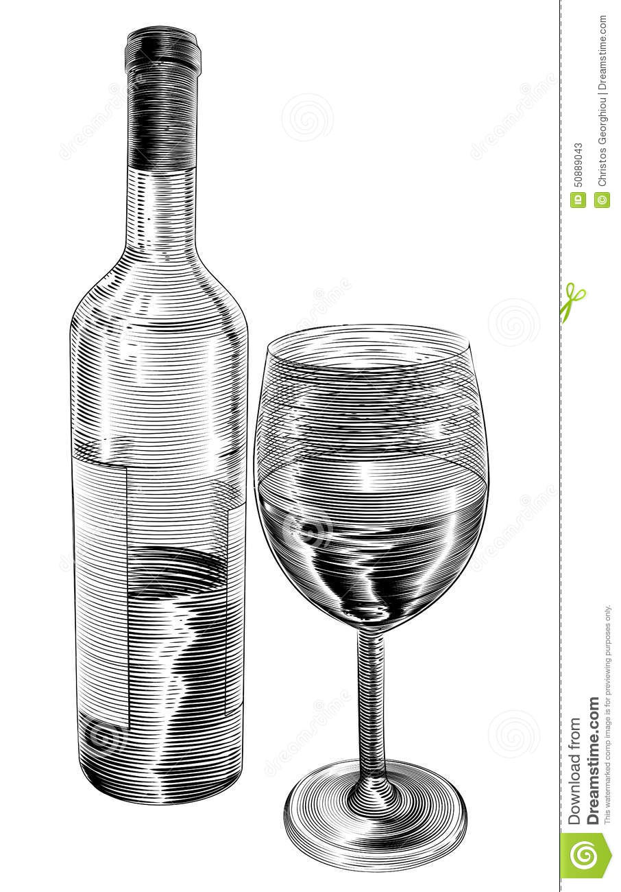 Vintage Woodcut Wine Bottle And Glass Stock Vector Illustration Of