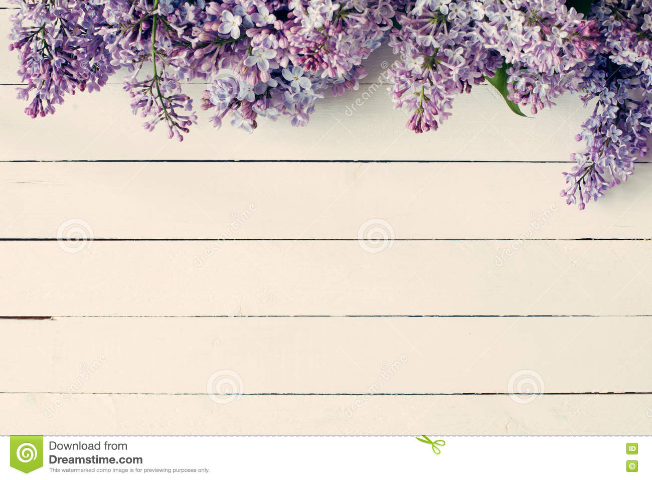 Vintage Wooden Background With Lilac Flowers Stock Photo