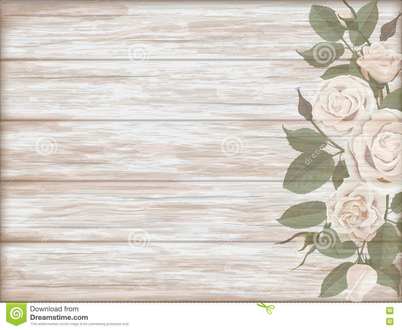 vintage wooden background white rose bud stock vector. Black Bedroom Furniture Sets. Home Design Ideas